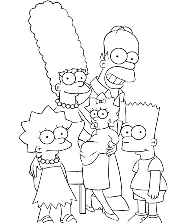 Whole Simpsons Family Coloring Page In 2020 Family Coloring Pages Cartoon Coloring Pages Simpsons Drawings