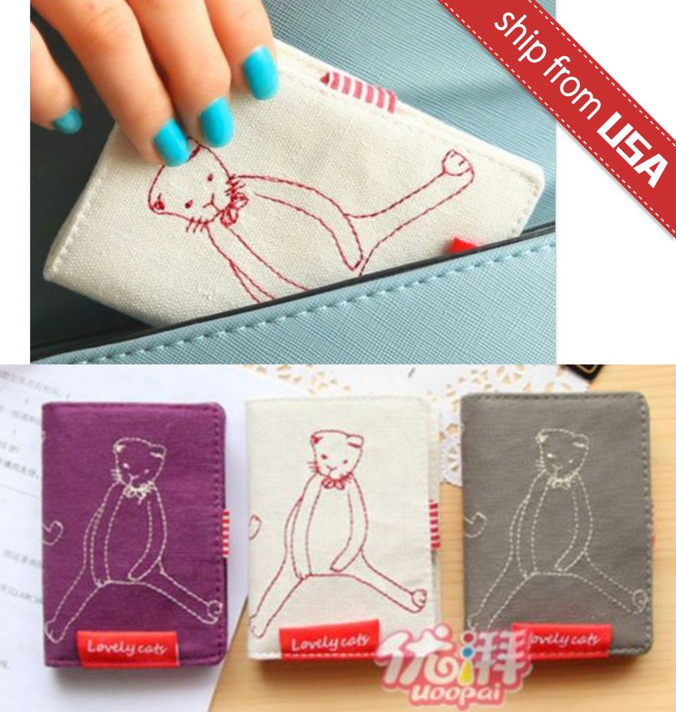 Cat Doll Fabric Canvas business Card holder Case 20 Pocket Wallet ...