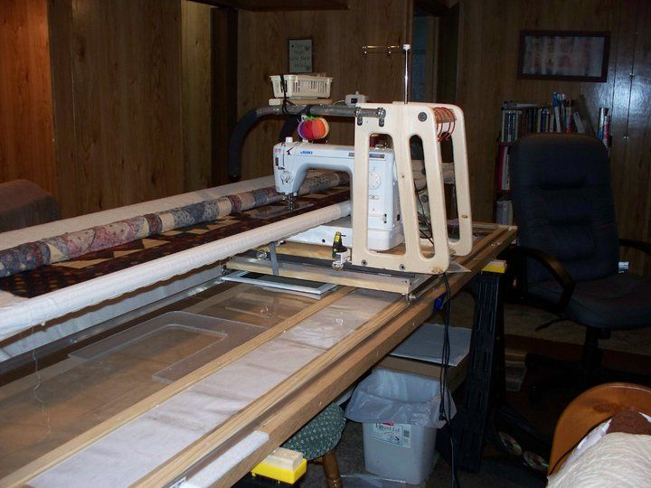 My Home Made Mid Arm Quilting Frame Approx Amount Invested In The Frame Was 200 Dollars Quilting Machine Frame Quilting Frames Quilts