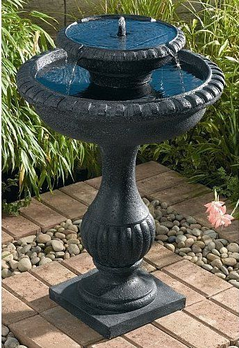 Solar Power Solar Smart Solar Blenheim 2 Tier Solar On Dem Bird Bath Fountain Bird Bath Fountains Outdoor