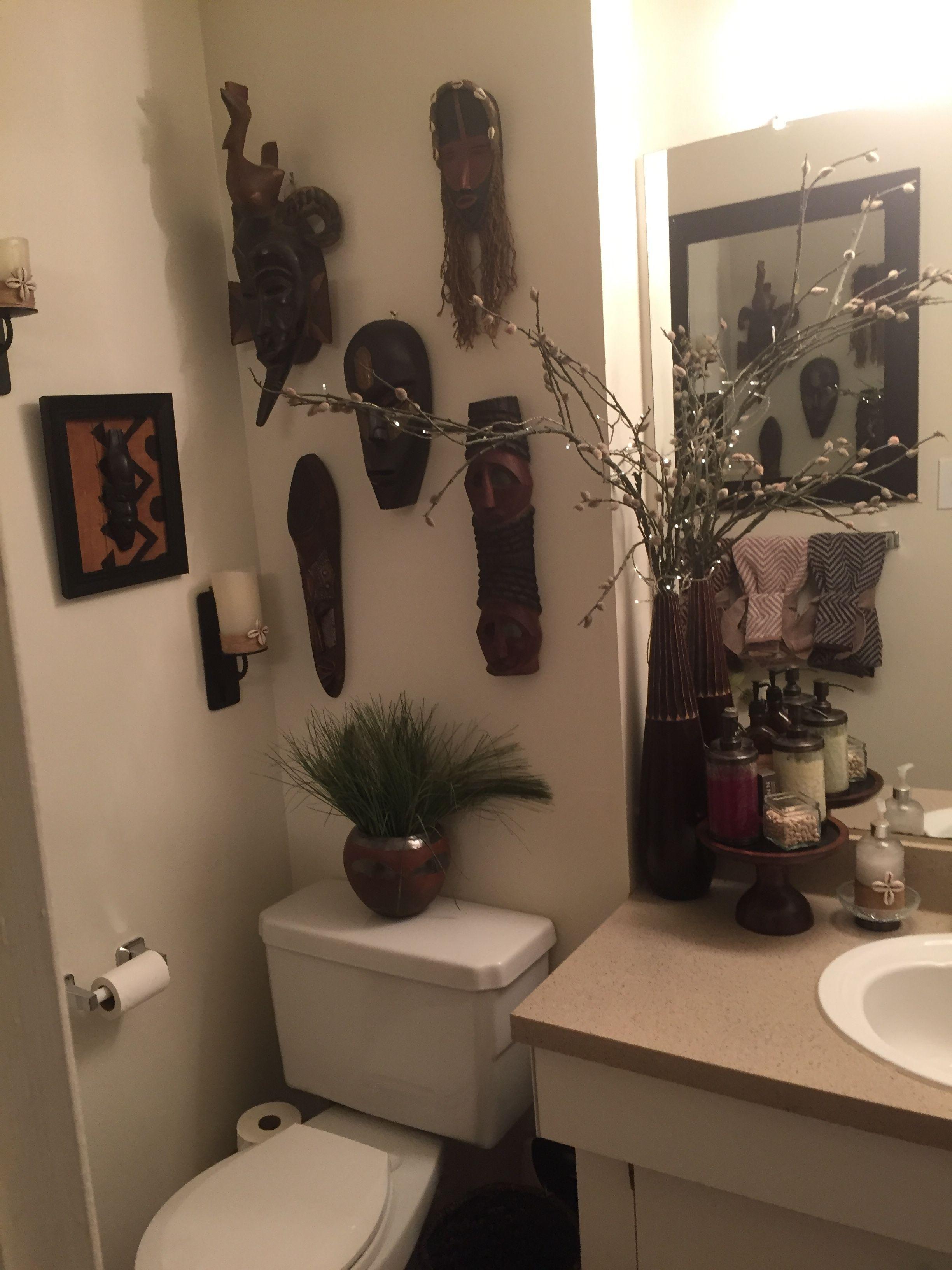 African Inspired Safari Home Decor Framed Bathroom Mirror Bathroom Decor African inspired bathroom decor