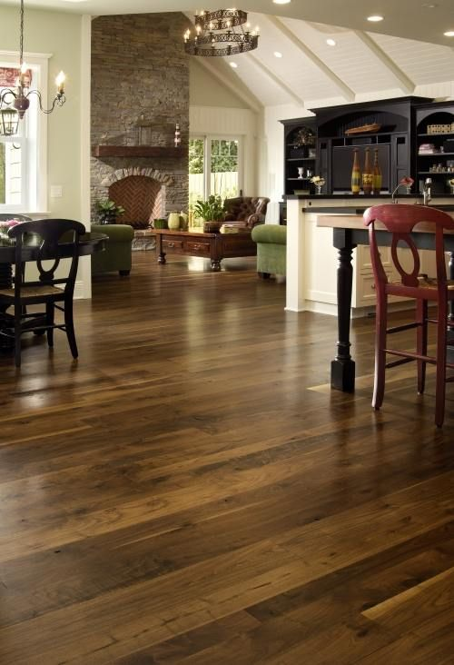 Wide plank Walnut hardwood floors crafted in random widths with graded for  more color variation and natural character. Finished with Carlisle Amber  finish ... - Get Inspired! A Selection Of Wood Choices Made To Help Achieve Any