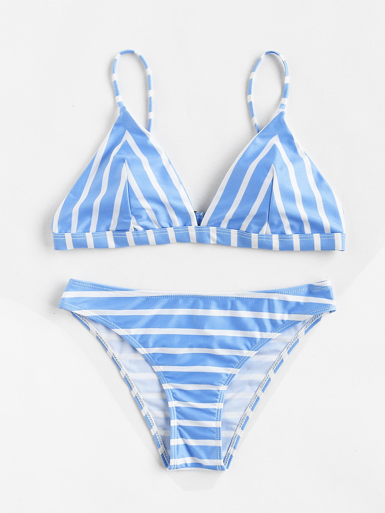 3bfdbda2656 Shop Block Striped Triangle Bikini Set online. SheIn offers Block Striped Triangle  Bikini Set   more to fit your fashionable needs.