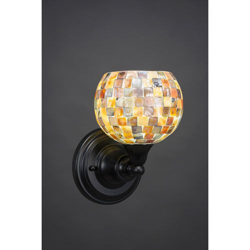 Matte Black Wall Sconce with 6-Inch Seashell Glass