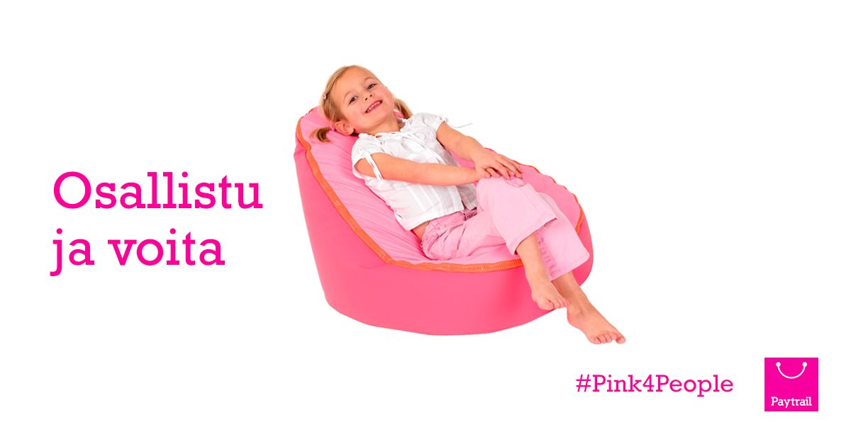 #Pink4People | Paytrail  Vko 47: Voita Doomoo Seat -säkkituoli!  Palkintona arvotaan lasten Doomoo Seat -säkkituoli, jossa joulun odotus ja lelukuvastojen selailu sujuu leppoisammin. Luo Paytrail-tili ja voita lapsellesi luksusta Kidster.fi -verkkokaupasta!