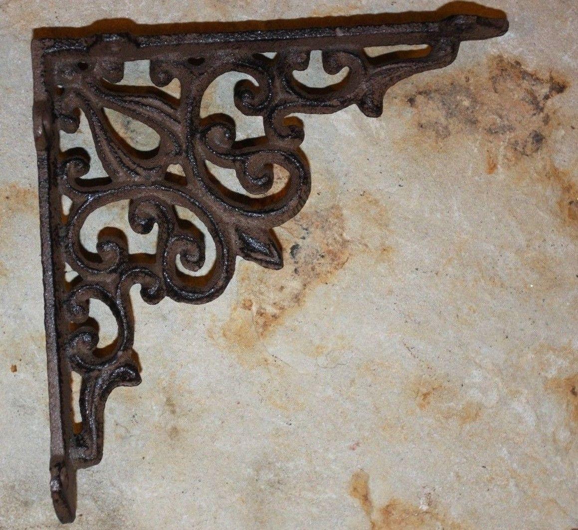 """2) Elegant shelf brackets, elegant cast iron shelf brackets, victorian shelf brackets, Étagère, corbels, free shipping,5 3/4"""" x 5 3/4"""", B-28 by WePeddleMetal on Etsy"""