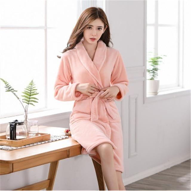 01ed1872f5 Bath Robe Women Winter Warm Coral Fleece Women s Bathrobe Nightgown Kimono  Floral Dressing Gown Sleepwear Female Home Clothes