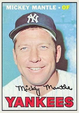 1967 Topps Mantle Baseball Cards Mickey Mantle Old Baseball Cards