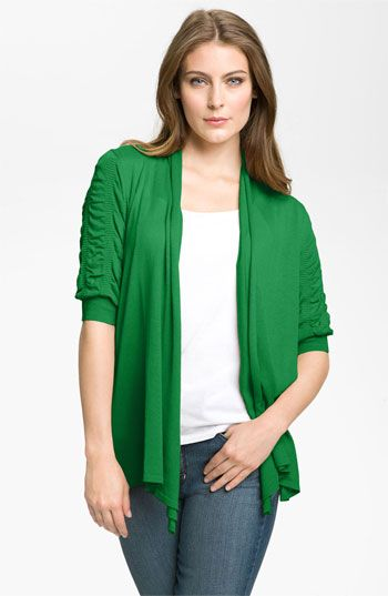 Fever Ruched Sleeve Cardigan