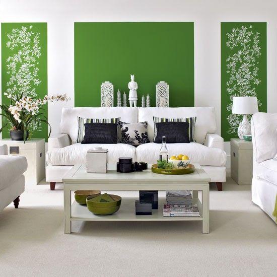 Peinture murale dans le salon- les couleurs tendance Grüne - wohnzimmer deko grun