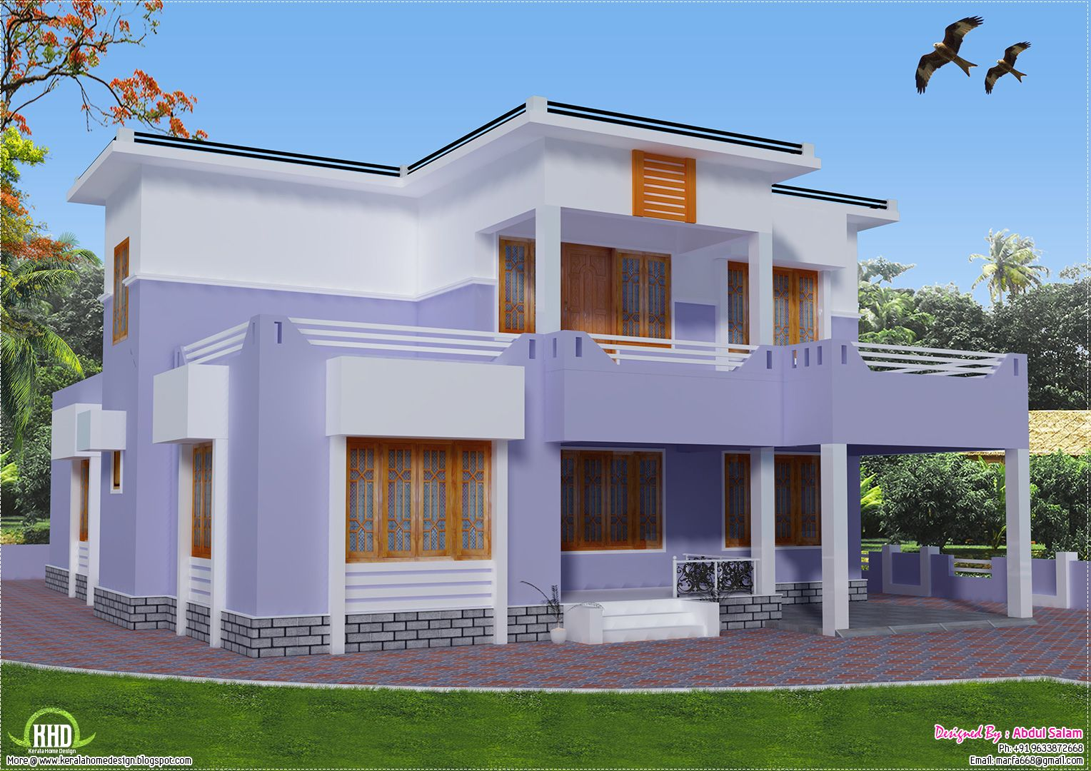 Sq feet details facilities house sq feet flat roof for Kerala home design flat roof elevation