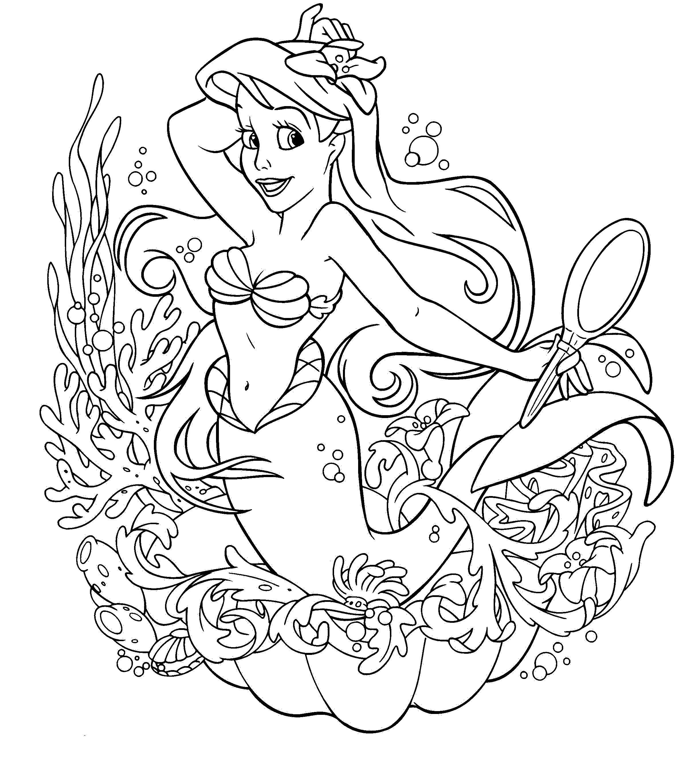 Little Mermaid Coloring Page | kids malen | Pinterest | Ausmalbilder ...