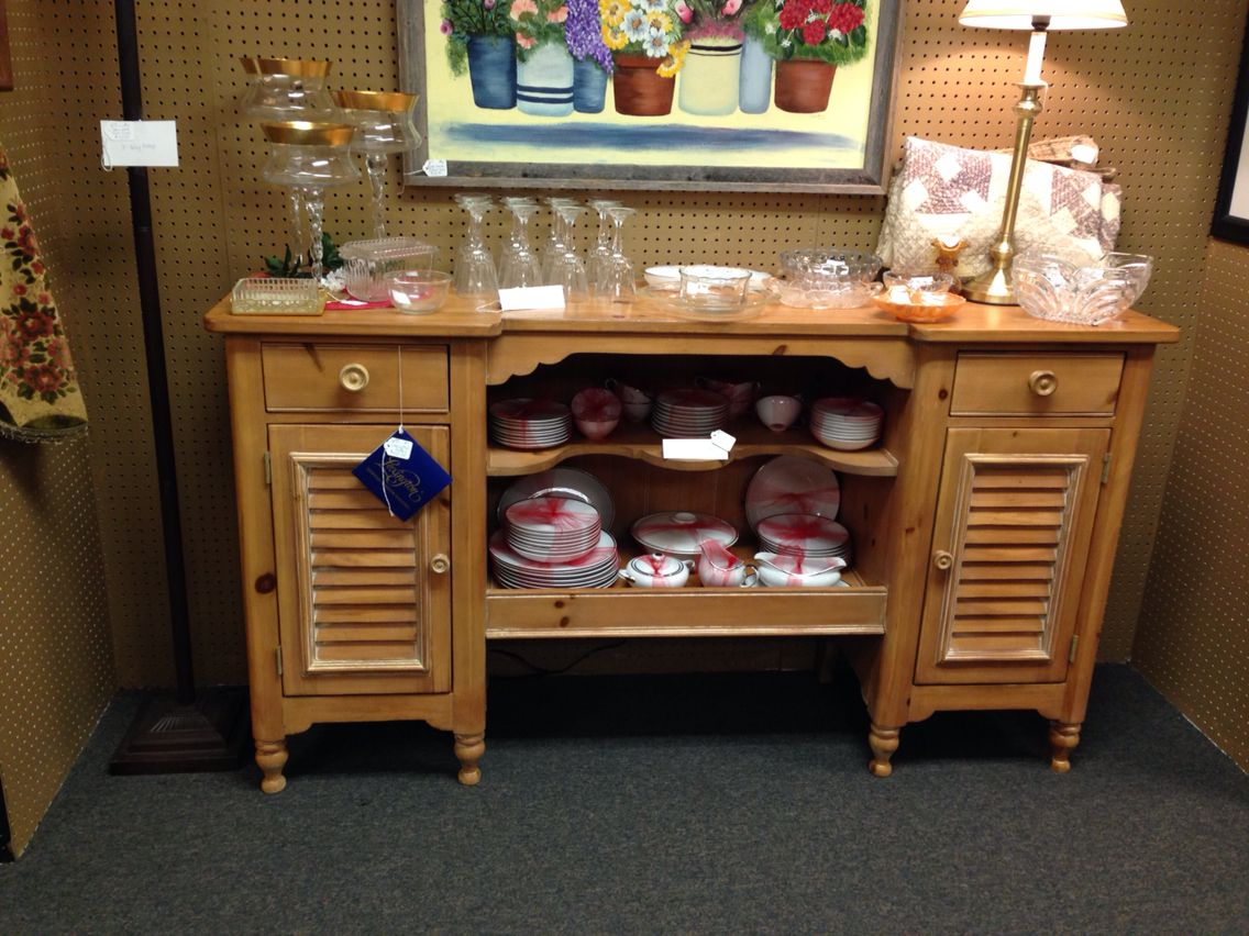 """We have a vintage Lexington buffet, $450, 5'8"""" long, 3'2"""" tall x1'6"""" deep, from dealer W7 at The Rusty Chandelier. We are packed full of fantastic furniture, vintage finds, home decor and gifts, many one of a kind created or recreated by our talented vendors. An eclectic mix of old and new treasures. Come explore for yourself! Open everyday 9-6!  I-29 and Highway 71, St. Joseph, MO"""