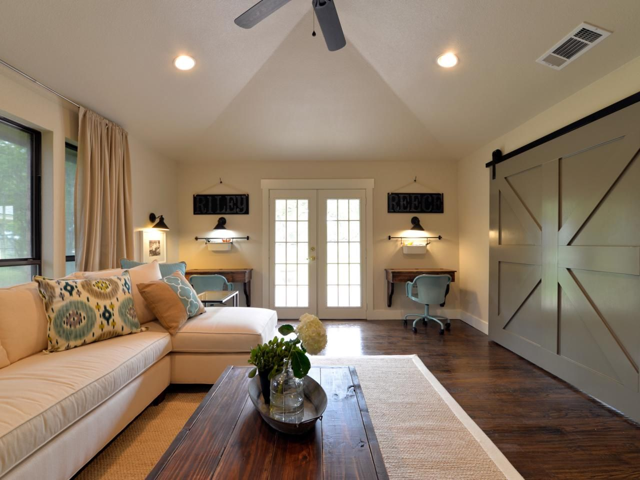 Hgtv S Newest Talented Twosome Bring High End Design Within Reach Farm House Living Room Open Concept Living Room Family Room Sectional