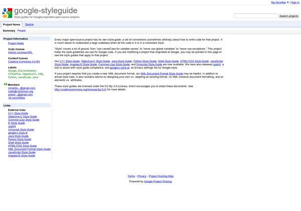 Guias de Estilo de codigo de Google para diferentes lenguajes de programación