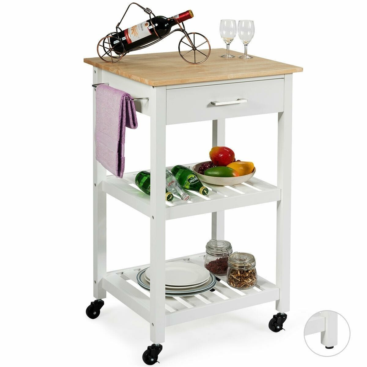 Kitchen Island Cart Multifunction Rolling Trolley Small Wood Cart