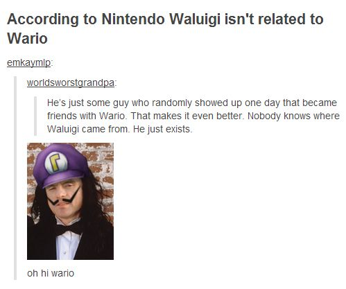 Okay seriously The Room and Waluigi is a great idea.