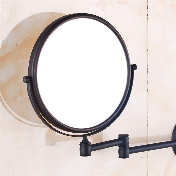 室内用ミラー 壁掛け化粧鏡 浴室用品 スイング可能 真鍮製 Orb