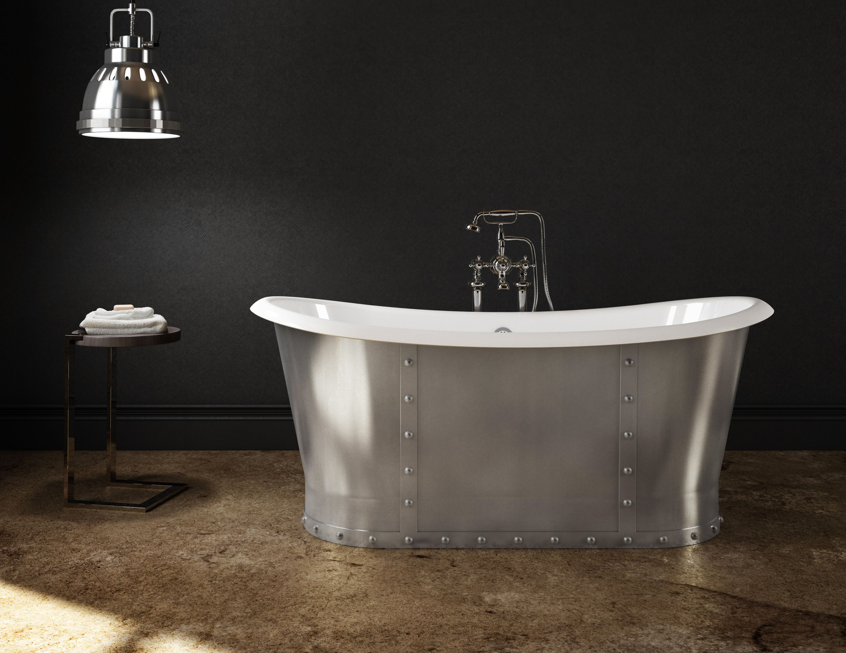 cast iron freestanding bathtub stainless steel skirt baignoire autoportante en fonte avec. Black Bedroom Furniture Sets. Home Design Ideas