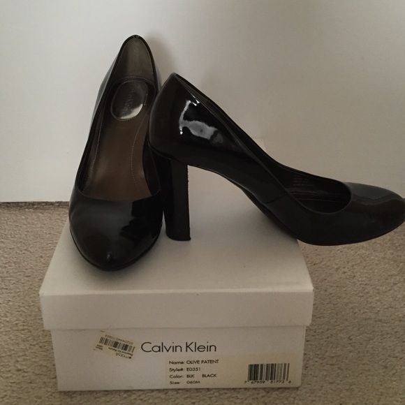 Pumps Calvin Klein black patent leather pumps. Super comfortable. A bit worn with some scratches to the heel. Perfect heel to wear to work. Willing to negotiate price. Calvin Klein Shoes Heels