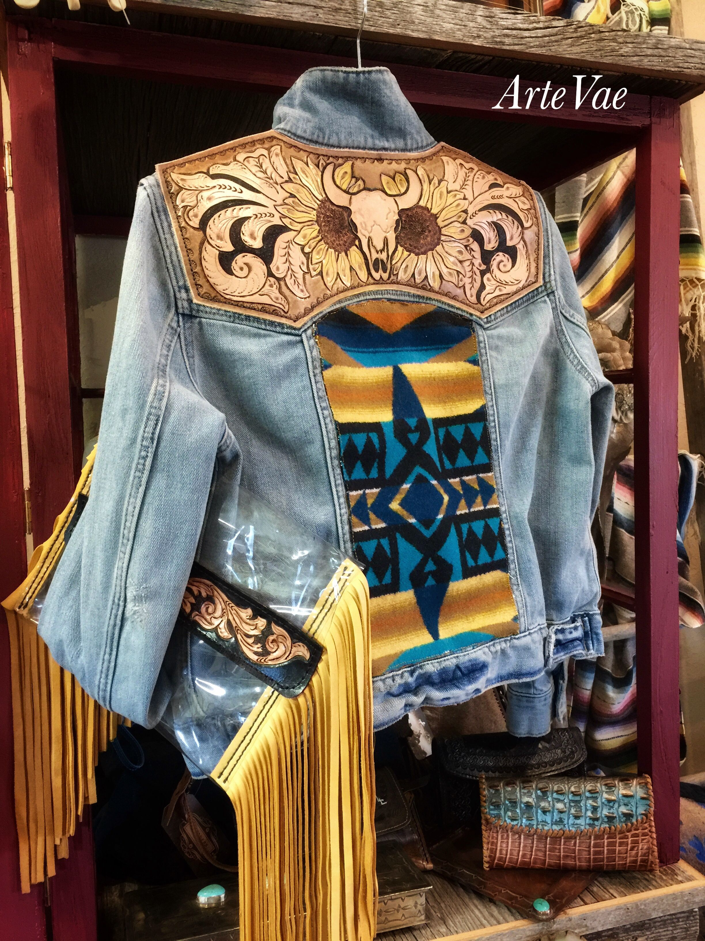Denim And Leather Nfr Jacket By Artevae Leather Jacket Style Winter Fashion Coats Leather Denim [ 3264 x 2448 Pixel ]