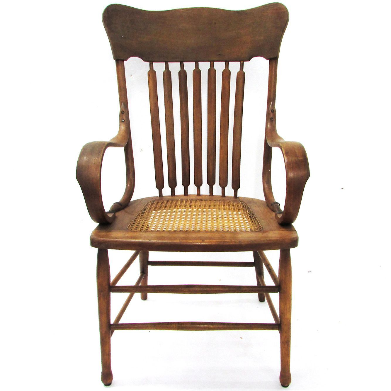 Antique Oak Captains Chair W/ Caned Seat