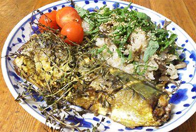サバのハーブソテー(カレー風味)と舞茸の混ぜご飯のワンプレート