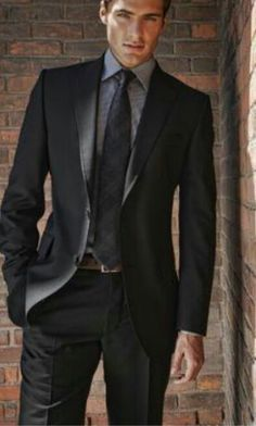 Groom Black Suit With Gray Shirt Google Search