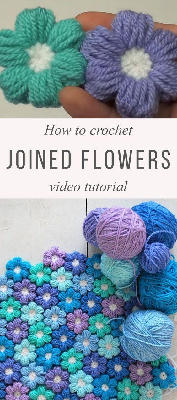 Joined Puff Flowers Crochet Pattern Tutorial   Juegos de baño ...