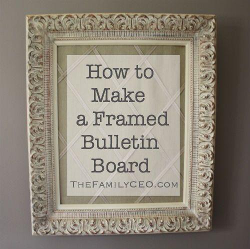 How to Make a Framed, Decorative Bulletin Board | Bulletin board ...