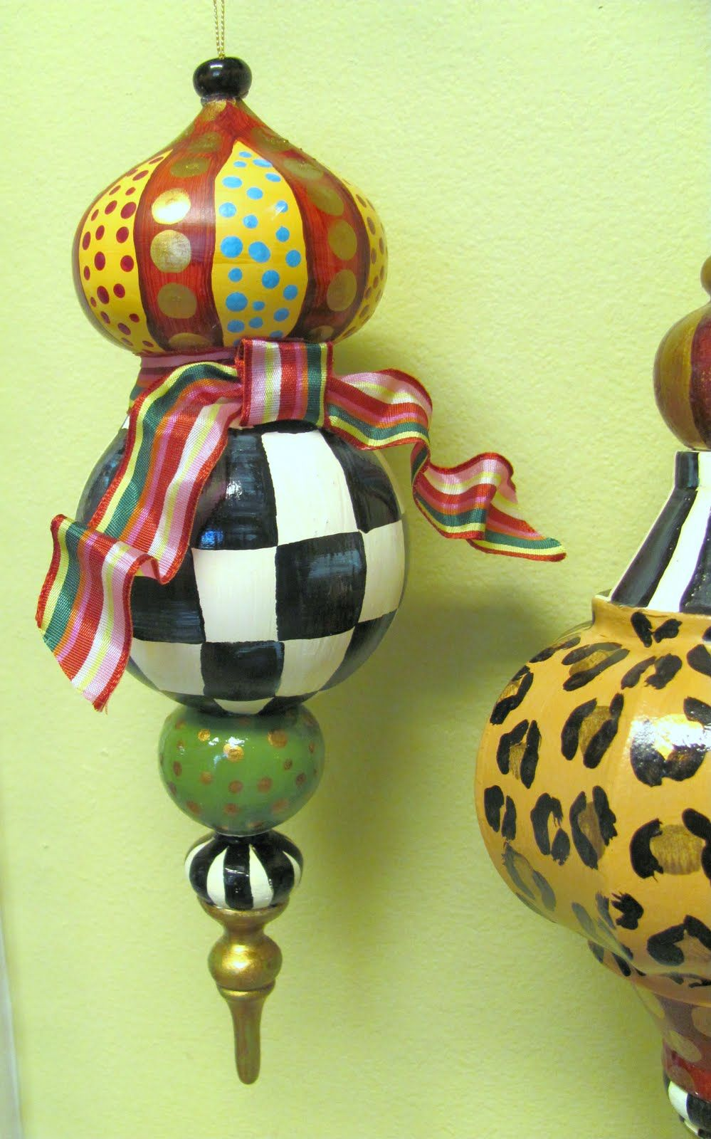 DIY Whimsical Hand Painted Large Paper Mache Christmas Ornaments ...
