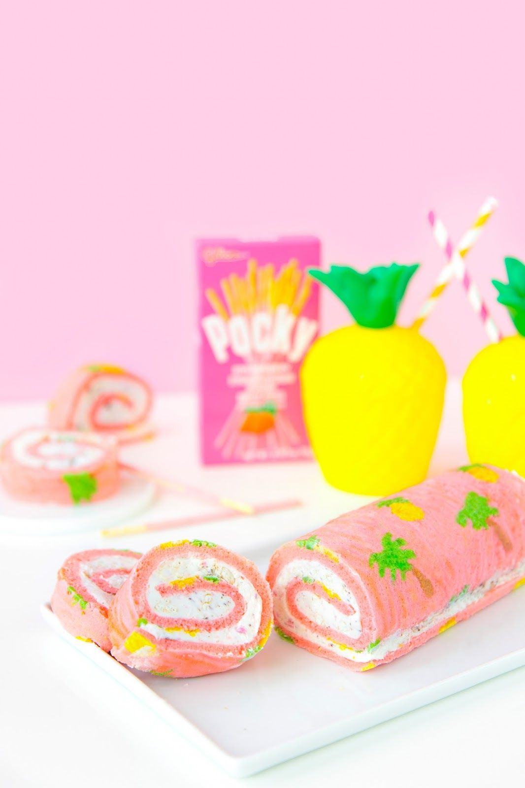 Pink Palm Tree Cake Roll-Up
