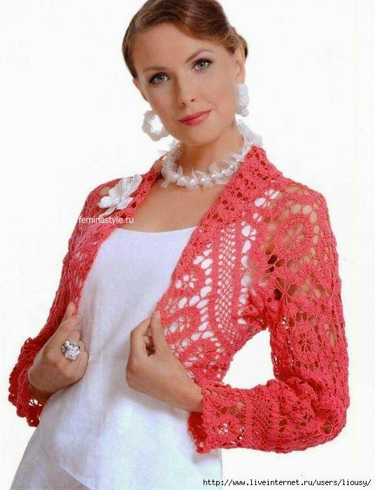 Bolero tejido al crochet en color coral | boleros crochet ...