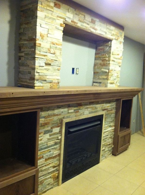 Stacked Stone Entertainment Center And Fireplace By Link Renovations Linkrenovations Link
