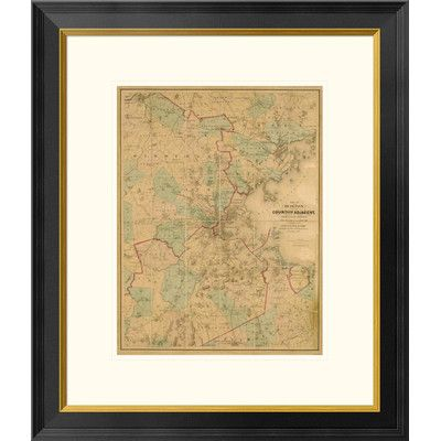 Global Gallery Map of Boston, 1860 Framed Graphic Art Size: 26\