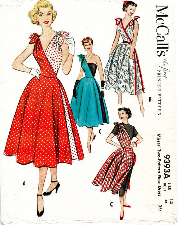 1950s dress vintage sewing pattern reproduction // cocktail dress ...