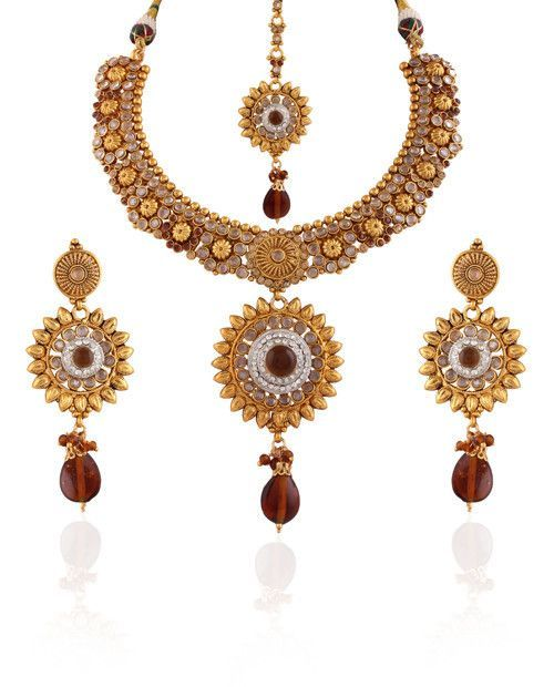 Variation Brown Flower Designer Kundan Studded Copper Necklace Set