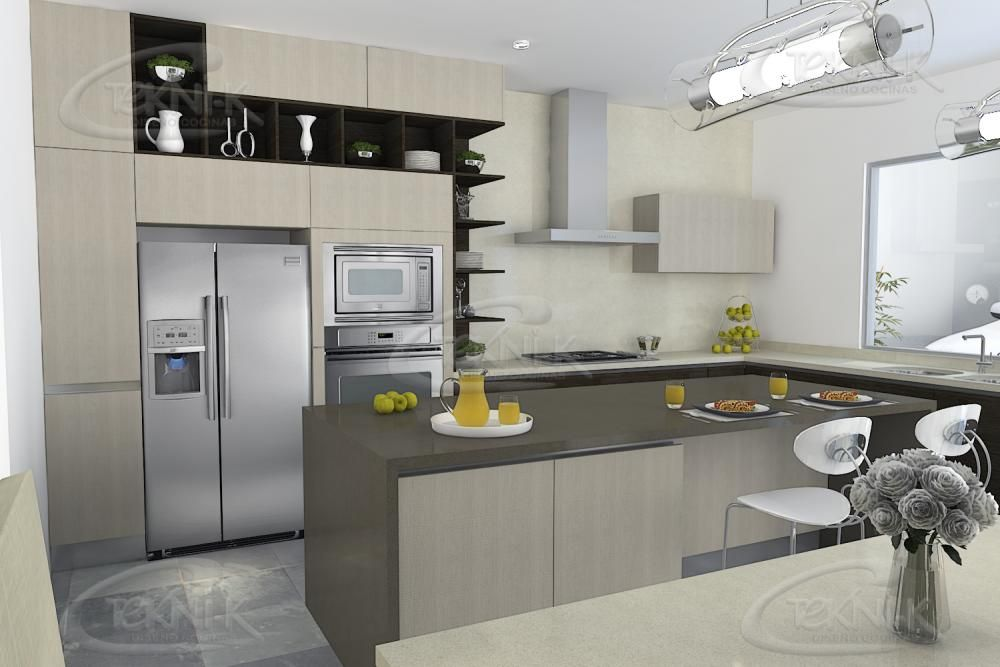 Cubierta en cuarzo blanco y concrete, con mueble y alacenas en - cocinas italianas