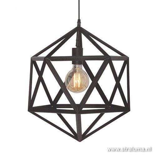 Moderne hanglamp Cubo zwart slaapkamer | Lampen Herveld | Pinterest
