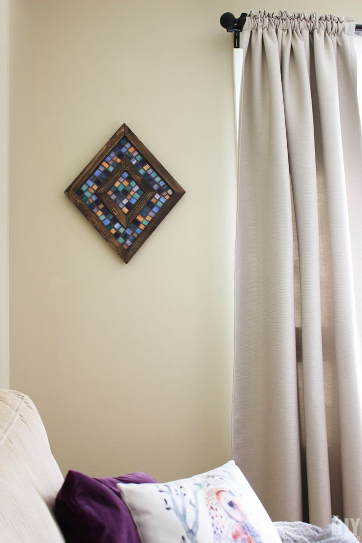Diamond shaped wood and mosaic wall art unique wall decor mosaic