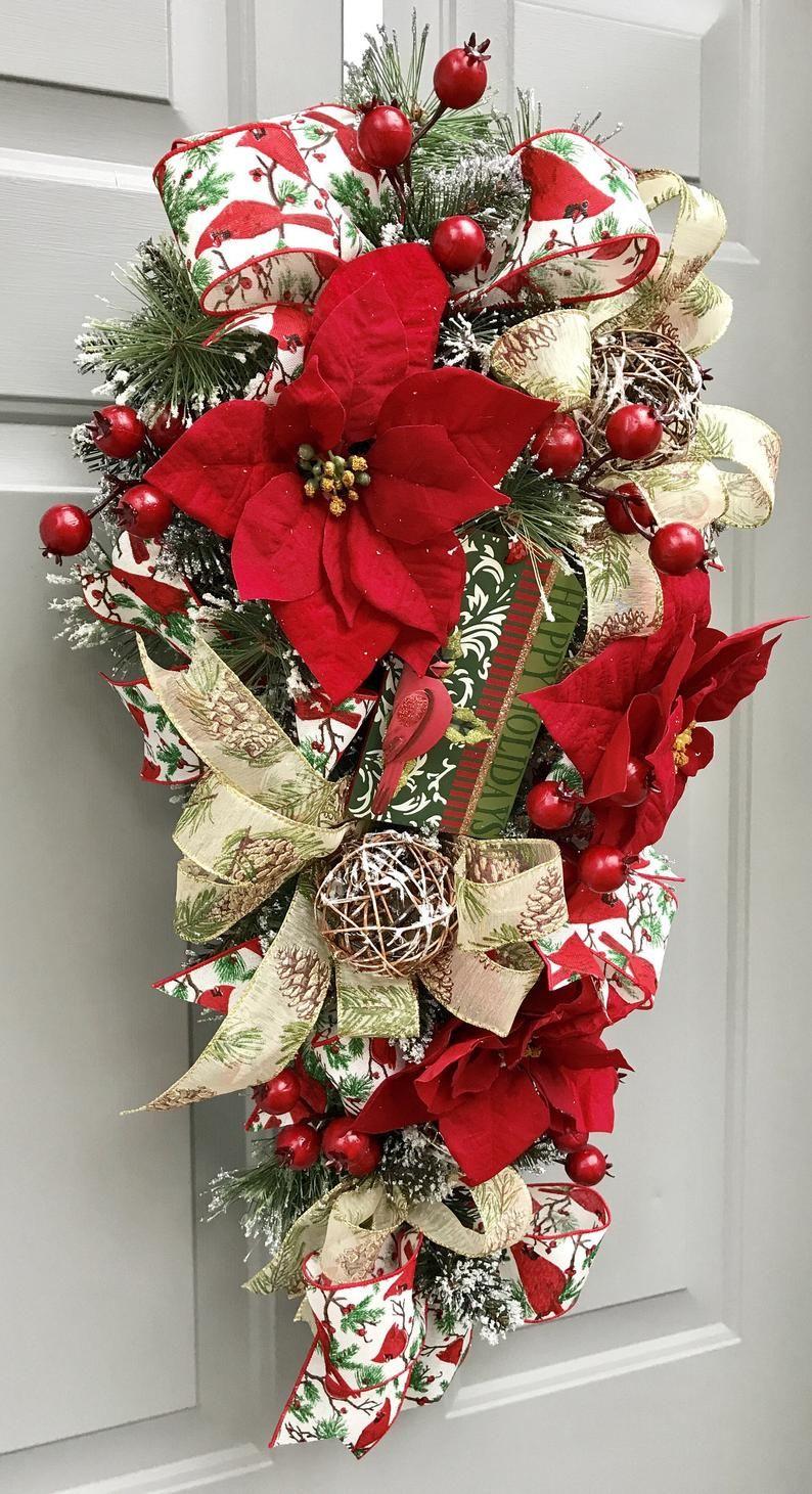 Christmas Cardinal Swag, Christmas Wreath, Christmas Swag, Flocked Pine Swag, Poinsettia Wreath ...