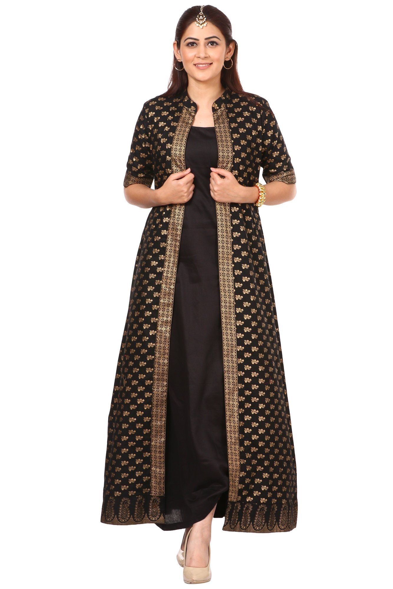 f59b155557 anokherang | Black and Gold Long Jacket Kurta Dress | Ethnic Fashion in all  sizes from XS to Plus Sizes