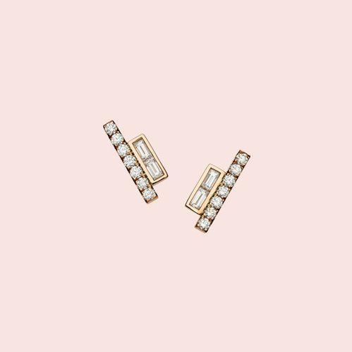 Boucles d'oreilles diamant rose