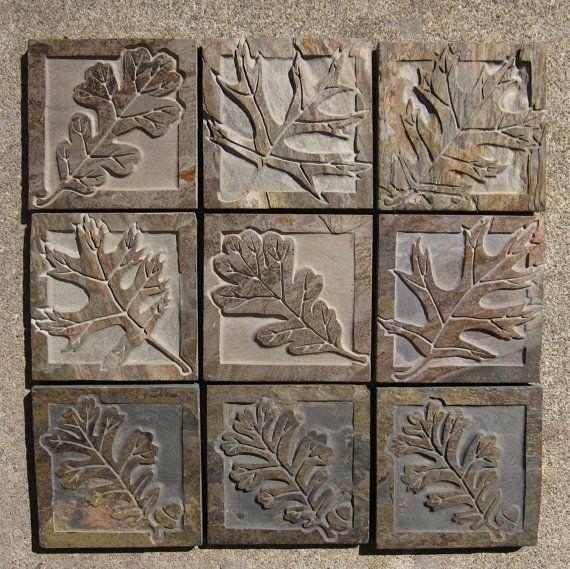 Decorative Slate Tiles Oak Leaf Tiles  English Oak & Black Oak Etched Decorative Slate