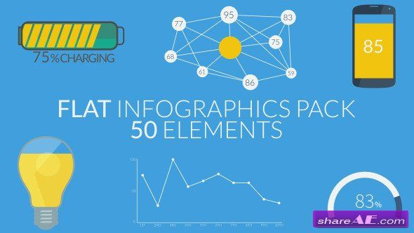 Flat Infographics Pack (50 Elements) - After Effects Project