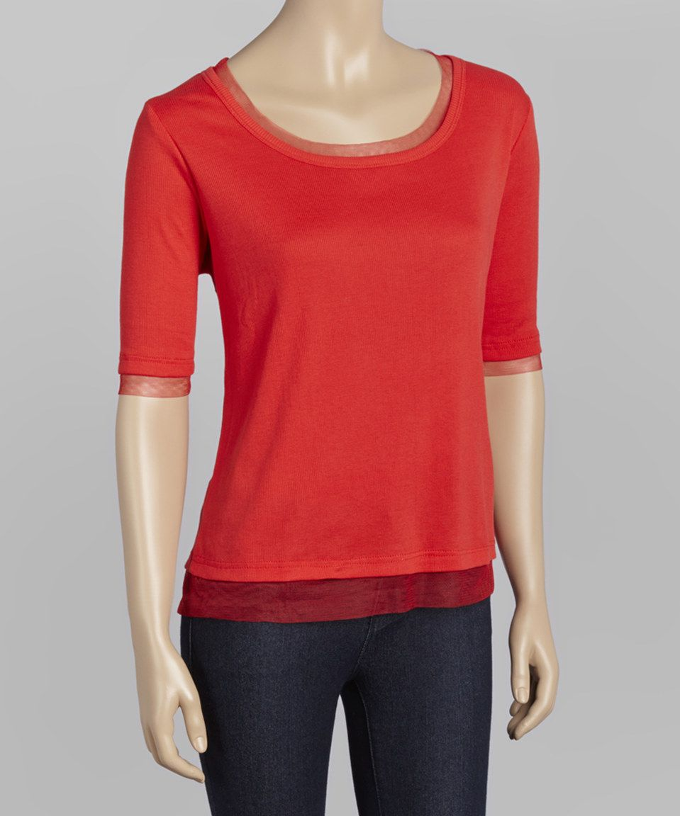 Loving this Zashi Tomato Sheer-Trim Scoop Neck Top on #zulily! #zulilyfinds