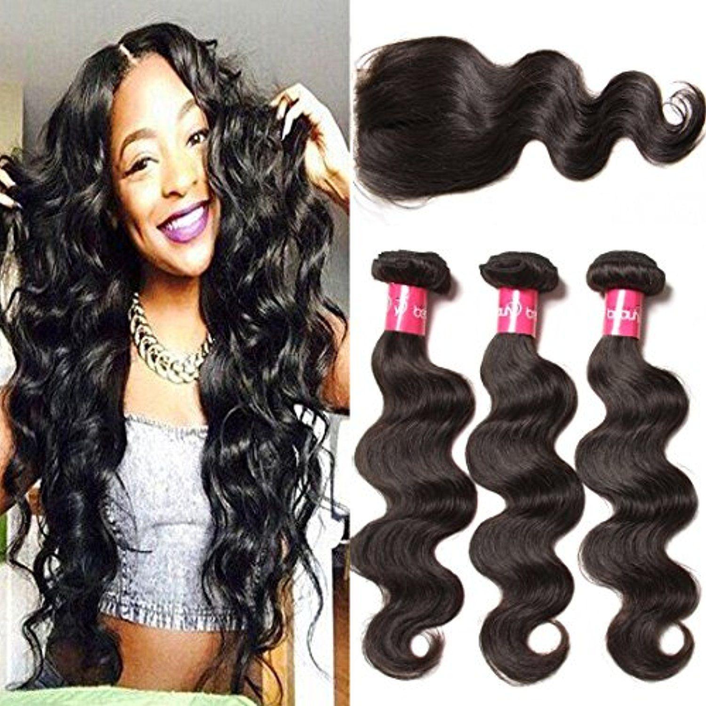 Longqi Hair 12 14 16 10inch Natural Color Brazilian Body Wave Hair 3 Bundles With Lace Closure Human Hair Extensions Best Human Hair Extensions Body Wave Hair