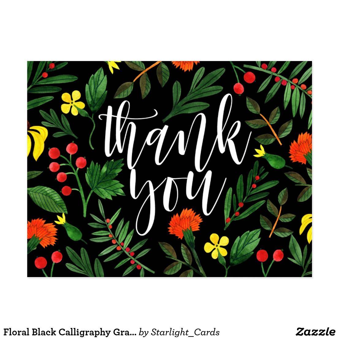 Floral black calligraphy graduation thank you postcard