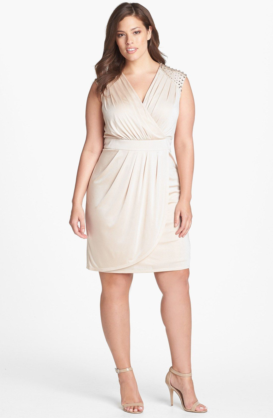 Vince Camuto Embellished Faux Wrap Dress #PlusSize ...