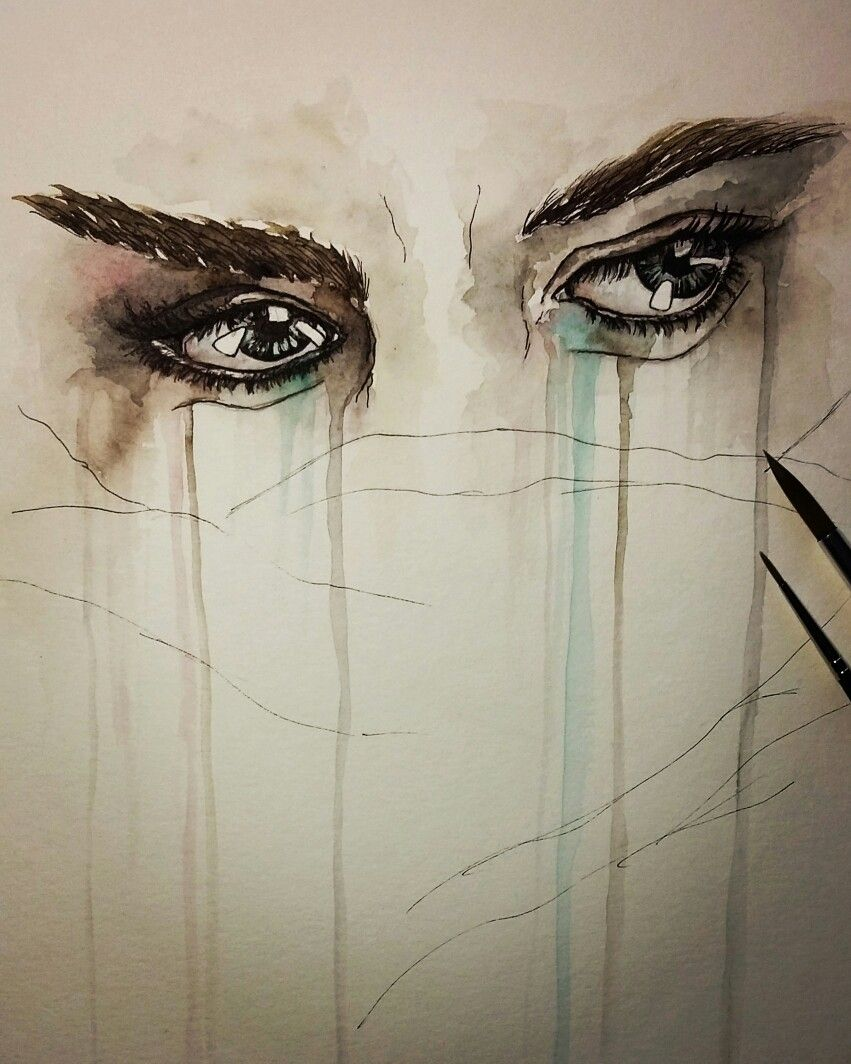 Watercolor Drawing Eyes Tears Woman Crying Sad Portrait